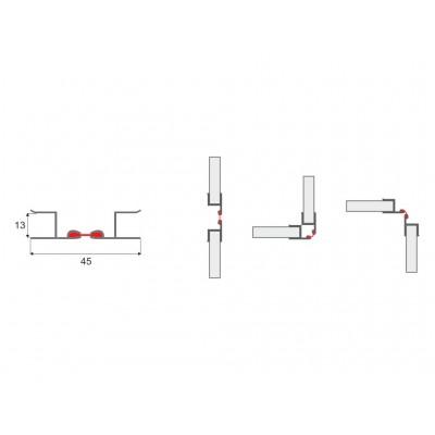 Алуминиев ъгъл за цокъл с променлив градус на отваряне - Цена: 0.96 лв.