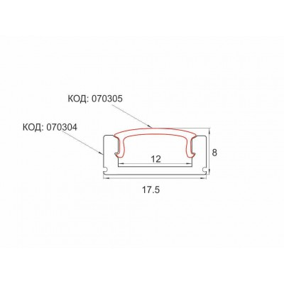 Профил за LED лента външен монтаж щракаща капачка - Цена: 9.00 лв.