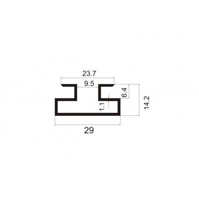 Алуминиев профил за магазинско обзавеждане 3000 мм - Цена: 14.40 лв.