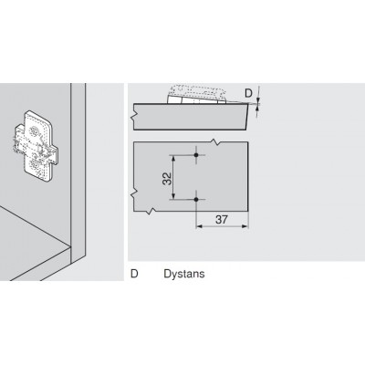 Мебелна панта CLIP top полупокрит кант на права страница +50° - BLUM - Цена: 7.39 лв.