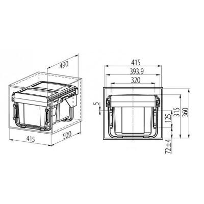 Кошче за разделно събиране за вграждане 2X15L шкаф 450мм - GTV - Цена: 123.00 лв.
