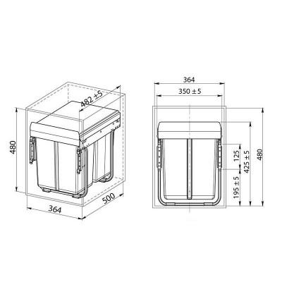 Кошче за разделно събиране за вграждане 20+2x10L шкаф 400 мм - GTV - Цена: 128.70 лв.