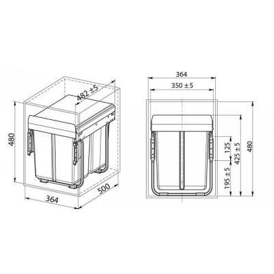 Кошче за разделно събиране за вграждане 2Х20L шкаф 400 мм - GTV - Цена: 138.60 лв.
