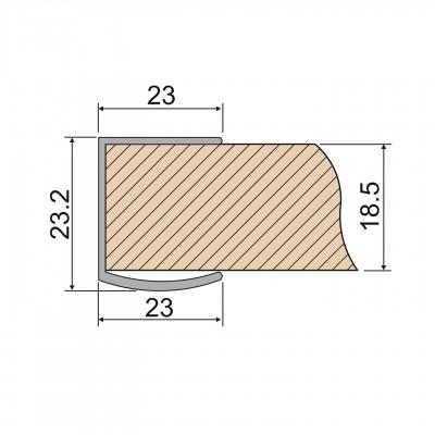 Вътрешна кант дръжка за гардероб с плъзгащи се врати - 2,5 м. - Цена: 7.20 лв.