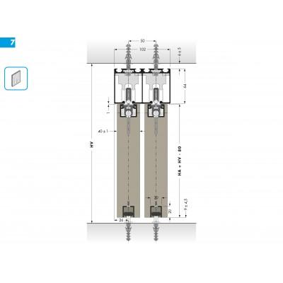 Система за плъзгщи се интериорни врати, товароносимост 60 кг. PS65 - CINETTO ITALY - Цена: 124.80 лв.