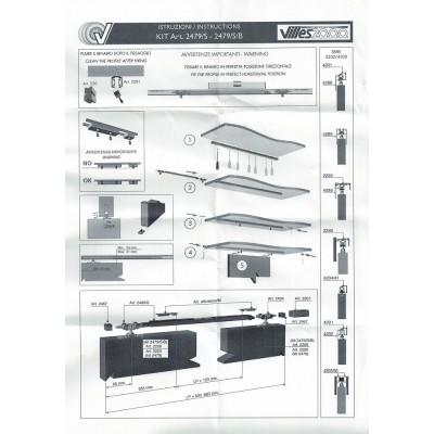 Механизъм за плъзгаща интериорна врата с плавно, 100кг. 2479/S/B - Villes 2000 - Цена: 175.68 лв.