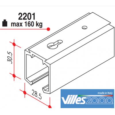 Релса за плъзгаща интериорна врата до 60кг, 2,3 или 4 метра - VILLES ITALY - Цена: 45.60 лв.