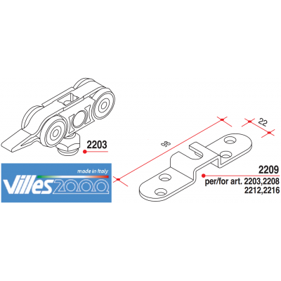 Ролки за плъзгаща интериорна врата тежка серия - VILLE ITALY - Цена: 11.40 лв.