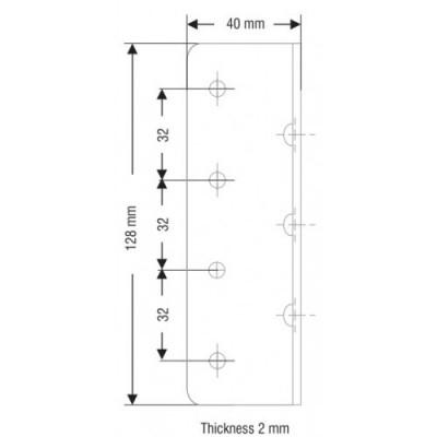 Ъглова планка 40 х 40 х 128 мм - Цена: 1.80 лв.
