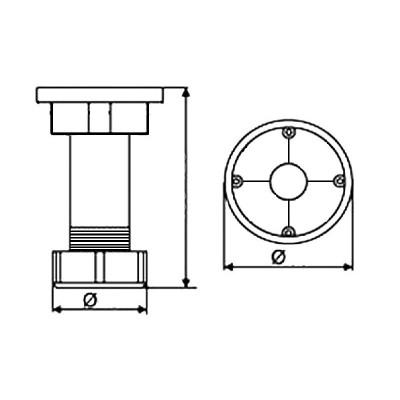 Кухненски пластмасов крак H70 - 100 мм - Цена: 0.30 лв.