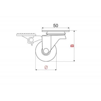 Мебелно колело Ø35 - прозрачно със спирачка - Цена: 4.80 лв.