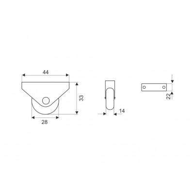 Еднопосочно колелце H - 32 мм - Цена: 0.48 лв.