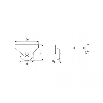 Еднопосочно колелце H - 43 мм - Цена: 0.60 лв.
