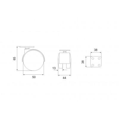 Мебелно колелце със стопер Ø50 - Цена: 0.72 лв.