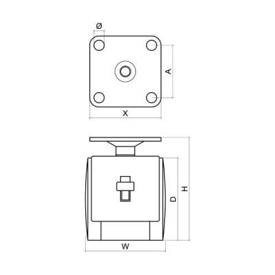 Колелце с планка и стопер Ø40 Н60 мм - Цена: 0.54 лв.