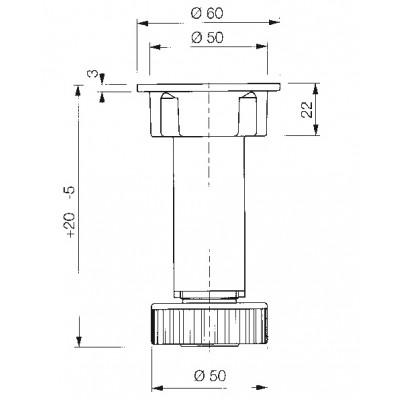 Кухненски крак неразглобяем - VOLPATO ITALY - Цена: 0.42 лв.