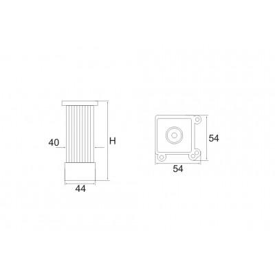 Алуминиев крак 40х40 - Релефен - МАТХРОМ