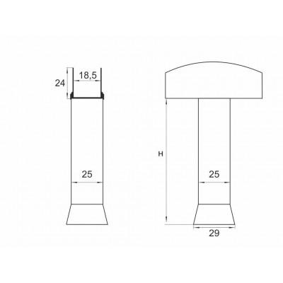 Алуминиев крак W-25 - Цена: 3.24 лв.