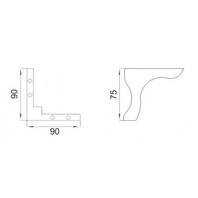 PVC крак LKNS 90x90x75 - Цена: 0.90 лв.