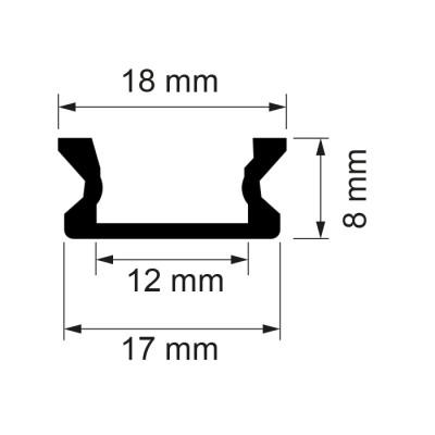 Алуминиев профил за LED лента, 2 метра - Цена: 12.00 лв.