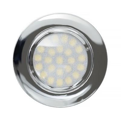 Мини LED луна за вграждане 4W, 4200K, 220V, неутрална светлина,IP44, ХРОМ - Цена: 9.90 лв.