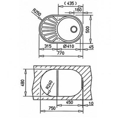 Мивка за вграждане DR 77 1С 1Е - TEKA - Цена: 186.00 лв.