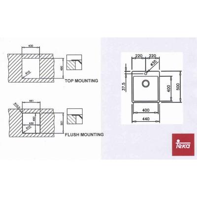 Мивка за горно вграждане или вграждане на нивото на работния плот FORLINEA 40x40 - TEKA - Цена: 339.00 лв.