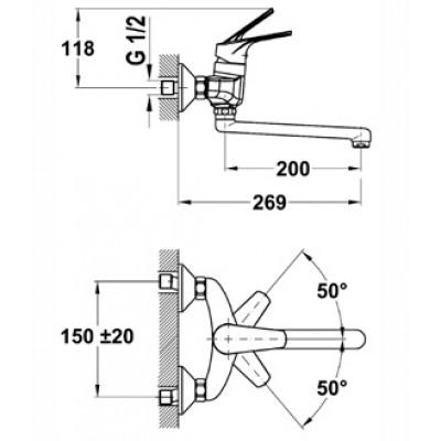 Стенен кухненски смесител с керамична глава MT PLUS за стена - TEKA - Цена: 166.80 лв.