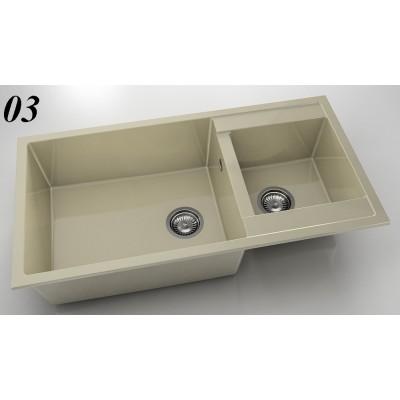Мивка 235 - полимермрамор с две корита FAT - Цена: 261.60 лв.