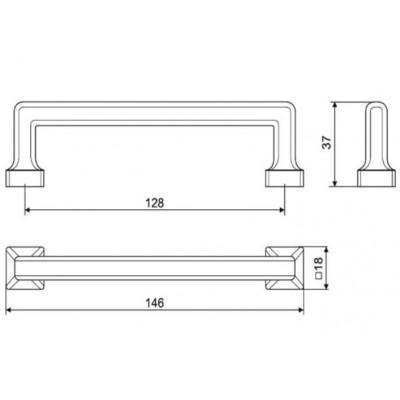 Мебелна дръжка UR47 128 мм - GAMET - Цена: 6.60 лв.