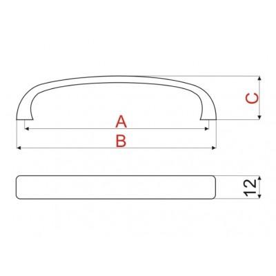 Мебелна дръжка UN45 128 мм - GAMET - Цена: 3.30 лв.