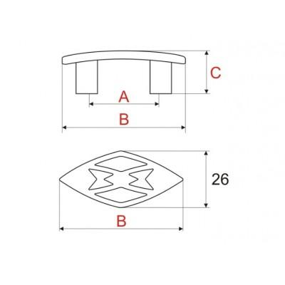 Мебелна дръжка UR-40-32 - GAMET - Цена: 3.60 лв.