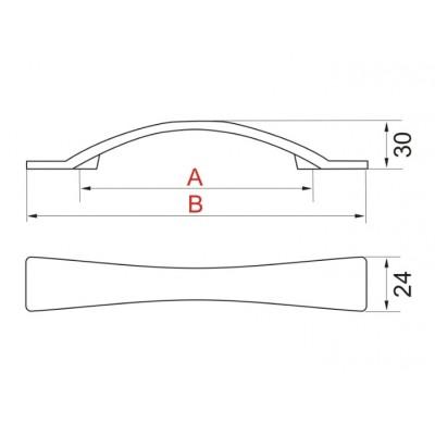 Мебелна дръжка UU09 - GAMET - Цена: 4.80 лв.