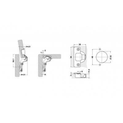 Мебелна панта с амортисьор високо рамо - TQ - Цена: 0.96 лв.