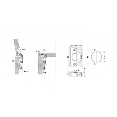 Мебелна панта с амортисьор ниско рамо - TQ - Цена: 0.96 лв.