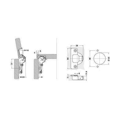 Мебелна панта с амортисьор средно рамо - TQ - Цена: 0.96 лв.