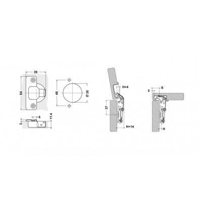 Мебелна панта освободена(без пружина) ниско рамо - D`CONTI - Цена: 0.60 лв.