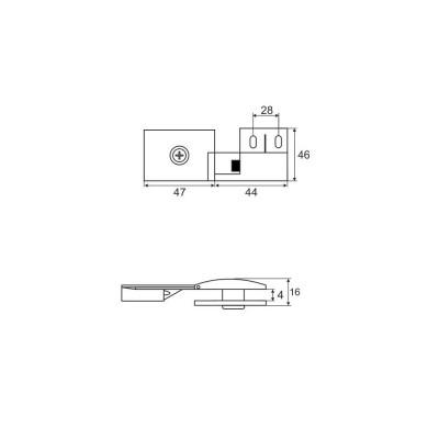 Шнаперна панта за стъкло 4153/01 хром - Цена: 7.80 лв.