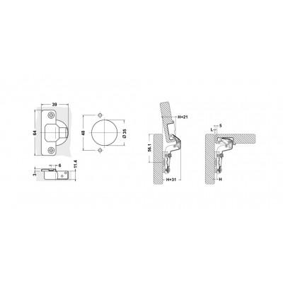 Мебелна панта освободена(без пружина) високо рамо - D`CONTI - Цена: 0.60 лв.