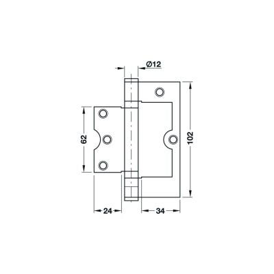 Шарнирна панта за безфалцова врата, Startec 102 мм - HAFELE - Цена: 11.76 лв.