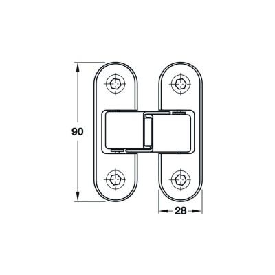 Вкопаема панта за безфалцова врата, 90 мм - HAFELE - Цена: 24.00 лв.