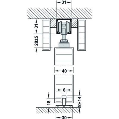 Механизъм за плъзгащи се врати Silent 40/A - HAFELE - Цена: 40.14 лв.