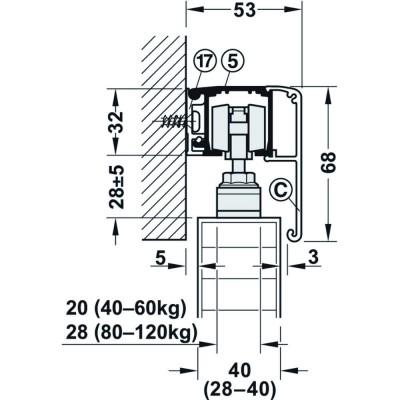 Механизъм за преградни плъзгащи се врати с едно крило Slido Classic 40-P без носеща шина, с плавно самоприбиране от двете страни - HAFELE - Цена: 276.48 лв.