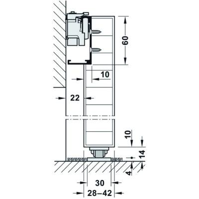 Механизъм за плъзгаща се врата Slido Design 80-M, широчина на вр. 1100 мм - HAFELE - Цена: 753.00 лв.