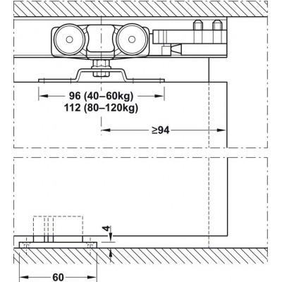 Механизъм за преградни плъзгащи се врати с едно крило Slido Classic 80-P без носеща шина - HAFELE - Цена: 69.60 лв.