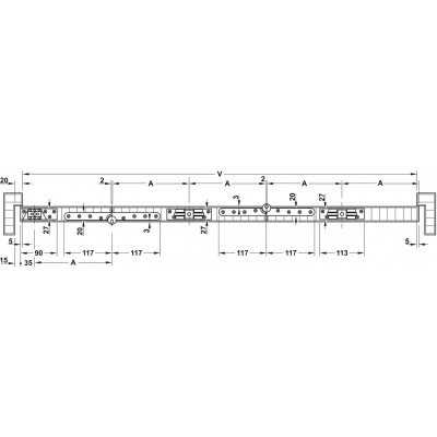 Механизъм за сгъваеми врати Slido Fold 50-K - основен комплект за 1 и 1/2 крила , без шина - HAFELE - Цена: 87.48 лв.