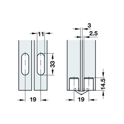 Вкопаема панта за сгъваем плот, 180° - HAFELE - Цена: 10.21 лв.