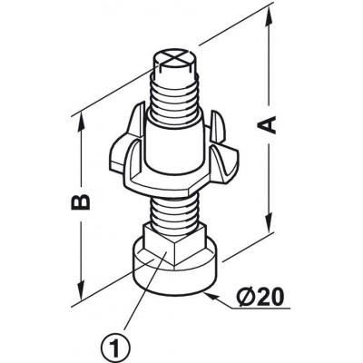 Регулируема стъпка М8 х 45 мм - HAFELE - Цена: 0.88 лв.