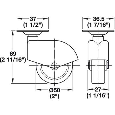 Колело ф50 мм с планка, без стопер - HAFELE - Цена: 17.23 лв.