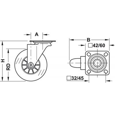 Мебелно колело със стопер,прозрачно, Ø75 мм - HAFELE - Цена: 27.44 лв.